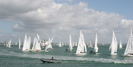 The start of the International Etchells fleet
