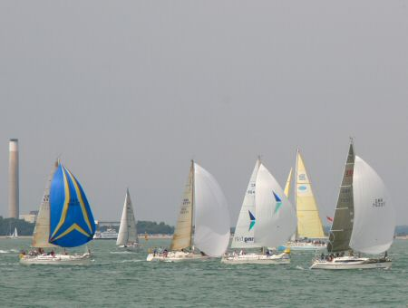A nice shot of yachts reaching on the Solent