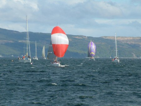 The fleet heads down to the start