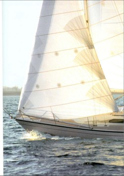 The bow of the Dehler 38 under sail