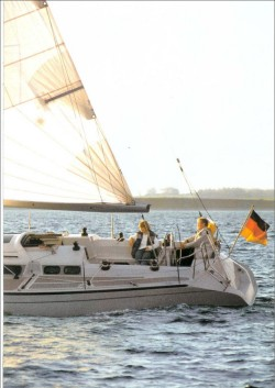 The stern of the Dehler 38 under sail
